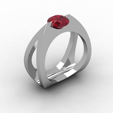 Custom Made Fold Tear Ruby Ring