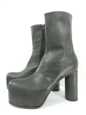 Custom Made Platform Boots  2 Inch Hidden Platform Ankle Boots Made Of Genuine Black Leather, Made To Order