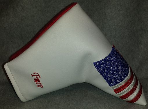 Custom Made Custom Putter Fore Leaf Golf Head Cover, Usa American Flag On White Cover