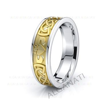 Custom Made 10k White And Yellow Gold - Platinum Claddagh Celtic Wedding Band Rings