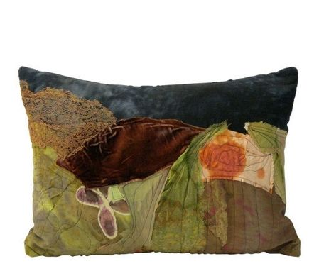 Custom Made Small Collage Pillow Collection Hand Painted Silk By Sara Palacios