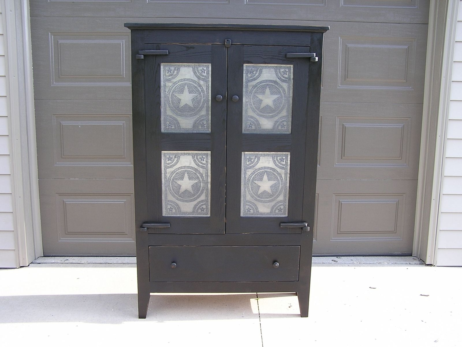 tin furniture. custom made primitive tin front pie safe 4 panel furniture