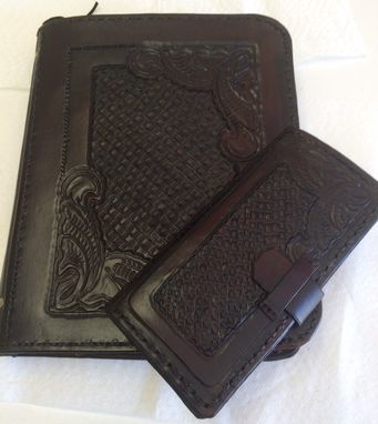 Custom Made Zip Up Leather I Pad Cover Portfolio And Matching I Phone 6 Plus Cover