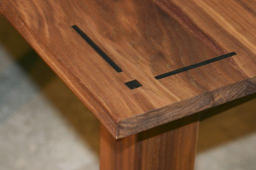 Custom Made Walnut Dining Table Detail Of Ebony Inlay