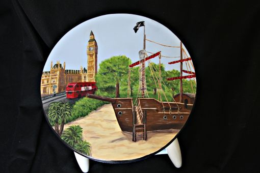 Custom Made Custom Painted London Themed Kitchen Stool