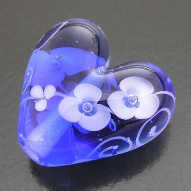 Custom Made Something Blue Floral Heart Bead Or Pendant Flame Worked Glass