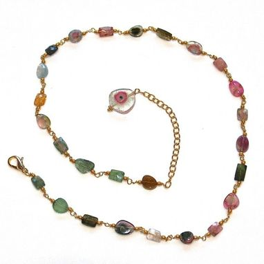 Custom Made Watermelon Tourmaline Slice Necklace In Gold Vermeil