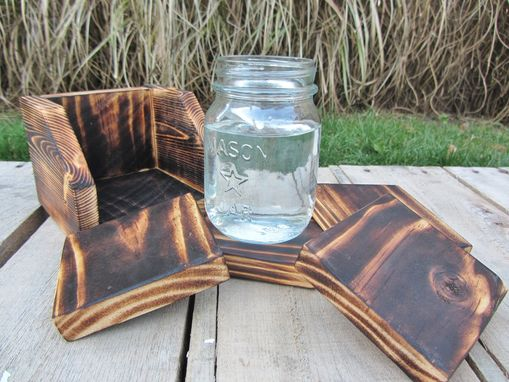 Custom Made Coaster Set Of 4 With Holder Made From Reclaimed Pallet Wood