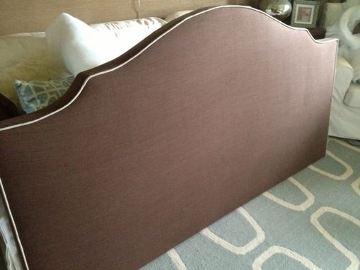 Custom Made Notched Upholstered Headboard, Chocolate Brown Linen, Light Colored Cording