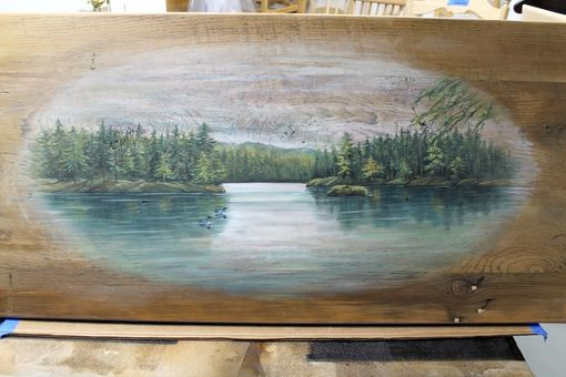 Custom Made Custom Painted Coffee Table From Reclaimed Wood. Painting Of Lake Scene For Lake Home