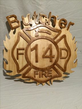 Custom Made Fire Man's Maltese Cross Wood Carved Art Plaque