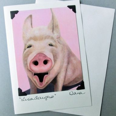 Custom Made Pig Card - Funny Pig Postcard Greeting Card Combination - Lisa Laughs - Pink Pig