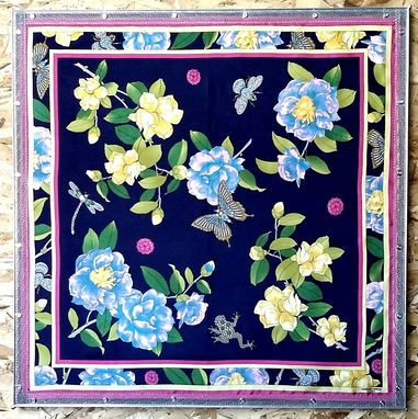 Custom Made Adrienne Landau Studio Navy Floral Insect Silk Scarf Framed Art