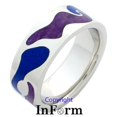 Custom Made White Gold Ring With Inlay