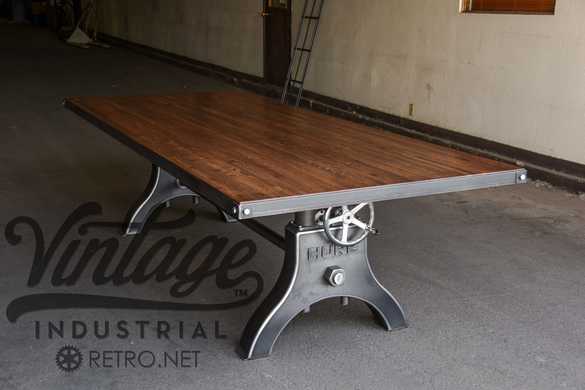 Handmade Vintage Industrial Hure Crank Table by Vintage Industrial ...