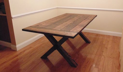 Custom Crossed Leg Trestle Style Farmhouse Table By