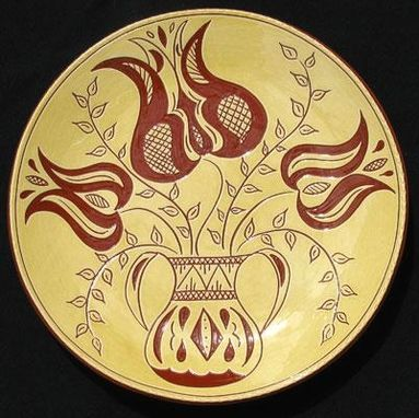 Custom Made Ceramic Plate With Three Flowers In An Urn