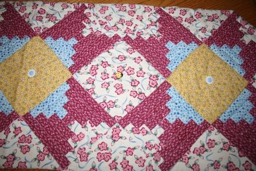 Custom Made One Of A Kind - Brighten Your Table - Pink And White Floral-Log Cabin Table Runner