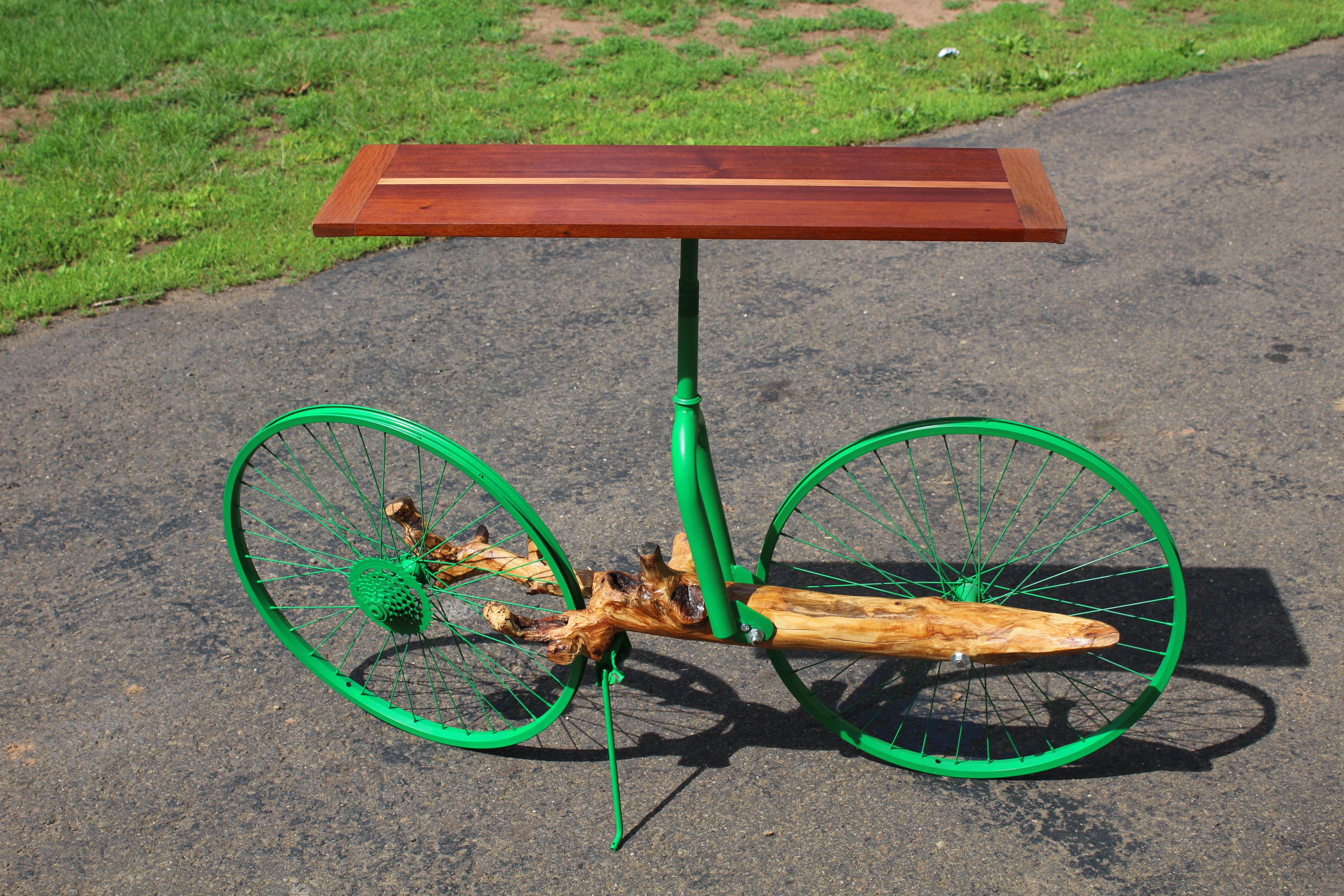 Hand Crafted Entry Table Made From Bike Wheels Tree