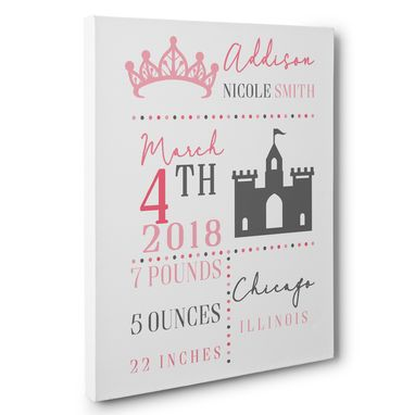 Custom Made Princess Birth Stats Photo Prop Canvas Wall Art