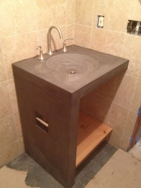 Custom Made Bathroom Sink/Base, Shower Bench With Rock And Concrete