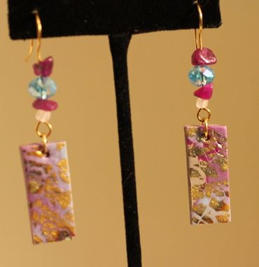 Custom Made Purple Marble, Gold Embossed, Aquamarine And Amethyst Crystal Earring, Brass Wire Wrap
