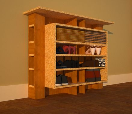 Custom Made Hallway Shoe Storage With Framed Shelves