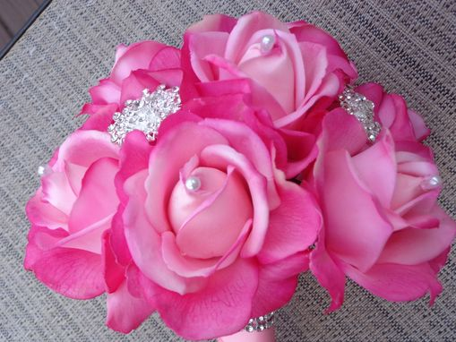 Custom Made Pink Rhapsody Real-Touch Rose Wedding Bouquet