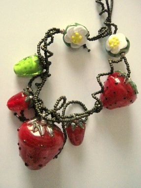 Custom Made Strawberry Necklace And Earrings