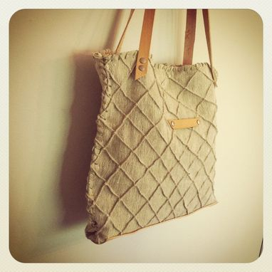Custom Made Diamond Tote Textured Organic Linen /Beeswaxed Leather Trim /Plant Dyed Linen Lining