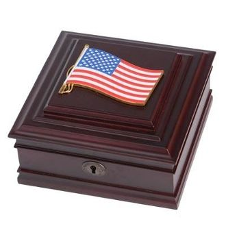 Custom Made American Flag Medallion Desktop Box