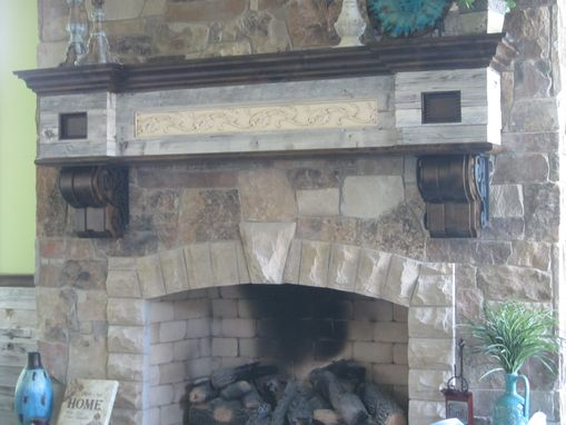 Salvaged Barnwood Fireplace Mantel With Wrought Iron Scrolling - Buy A Hand Made Salvaged Barnwood Fireplace Mantel With Wrought