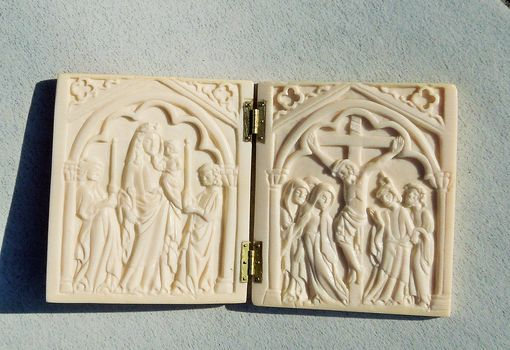 Custom Made Jesus Christ And Virgin Mary Diptych, Medieval Style