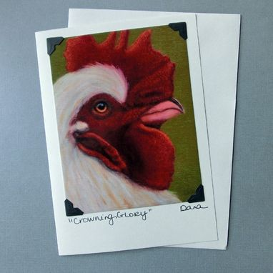 Custom Made Rooster Card - Chicken Card - Rooster Postcard Greeting Card Combination - Animal Art
