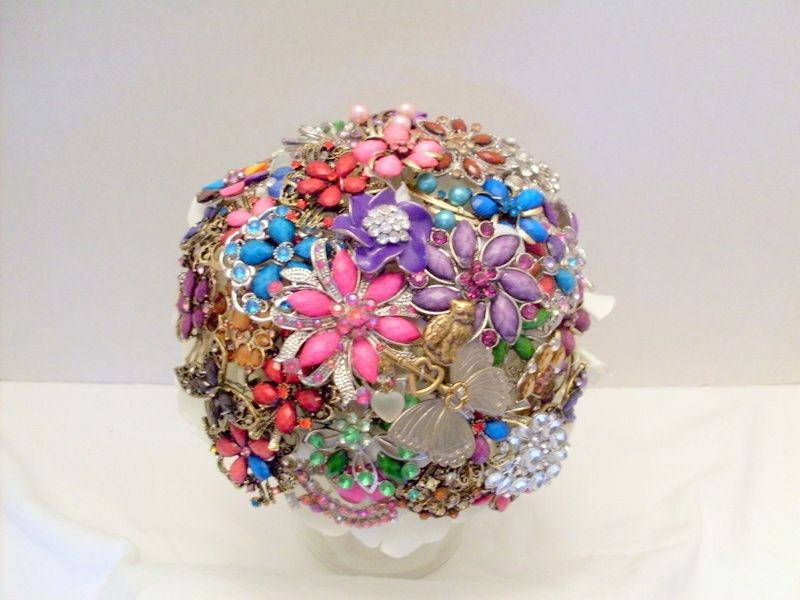 Hand Crafted Jeweled Brooch Bouquet Alternative Wedding