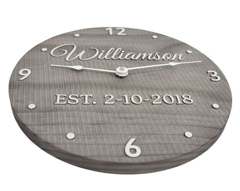 "Custom Made 11"" Personalized Wooden Clock With Couple's Last Name And Wedding Date."