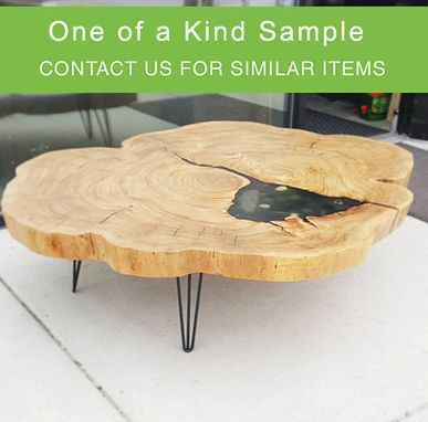 Custom Made Cross Cut Disc End Grain Elm Table With Inlay River Rock Black Base