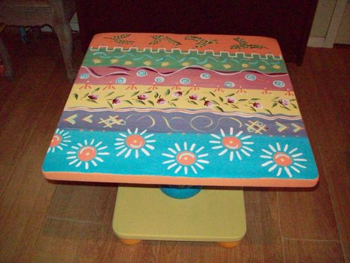 Custom Made Coffee / Occassional Square Table, Handpainted Multi-Colored