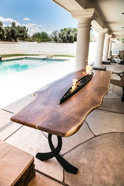 Custom Made 3x9ft Mesquite Live Edge Fire Pit Patio Table