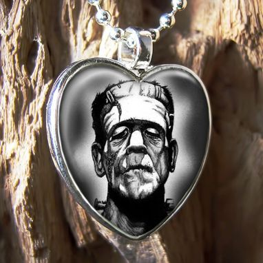 Custom Made Frankenstein Sterling Silver Heart Pendant Necklace 88-Shn