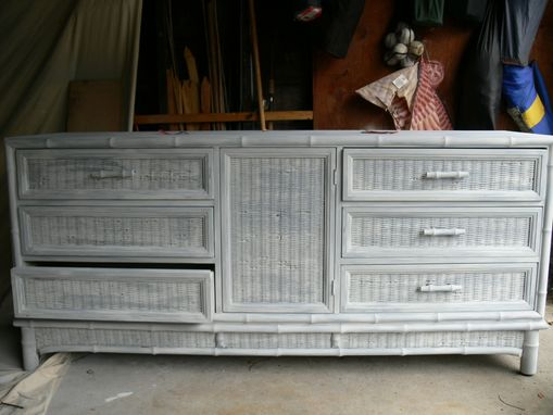 Custom Made Wood And Wicker Dresser
