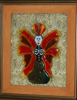 Custom Made Fused Glass Day Of Dead Wall Art - Cinderilla
