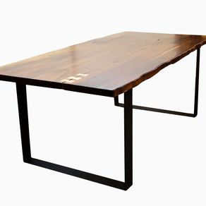 4a60c1c035d57 Live Edge Walnut Dining Table With Flat Iron Legs