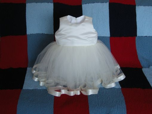 Custom Made Baby Dress - Ivory Satin And Tulle With Satin Ribbon