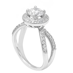 Custom Made Diamond Halo Engagement Ring In 14k White Gold, Proposal Ring