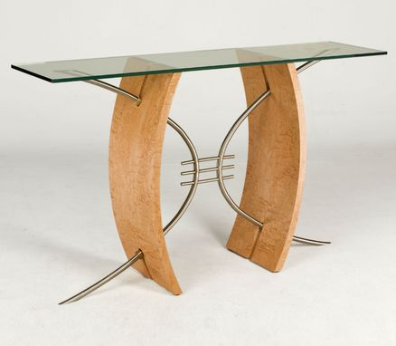 Custom Made Modern Glass Top Hall Table / Sofa Table In Wood And Stainless Steel (Parabola Hall Table)