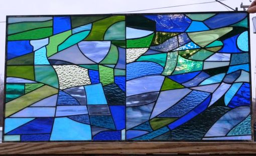 "Custom Made Stained Glass Transom - ""Sagrada Familia In Blues & Greens"" (Tw-71)"
