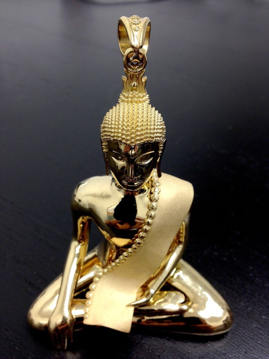 Hand crafted custom 18k gold buddha pendant charm by for Zen culture jewelry reviews
