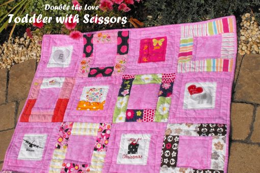 "Custom Made Double-Sided Baby Clothes Memory Quilt - Medium Size - 40 Blocks - Approx 40"" X 50"""