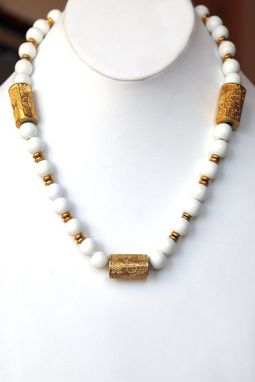 Custom Made Three Heavy Channel Embossed Brass Beads And Smooth Summer White Beads